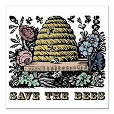 "Save The Bees Square Car Magnet 3"" x 3"""