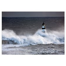 Seaham, Teesside, England; Waves Crashing On Light