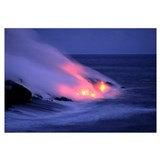 Hawaii, Big Island, Lava Entering Sea At Twilight