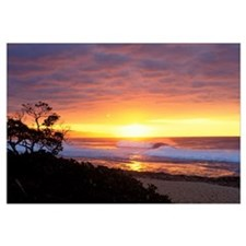 Hawaii, Oahu, North Shore, Waves Crashing At Sunse