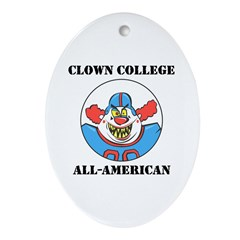 Clown College Football Oval Ornament