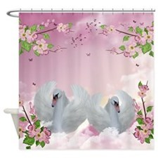 Fantasy And Floral Swan Shower Curtain