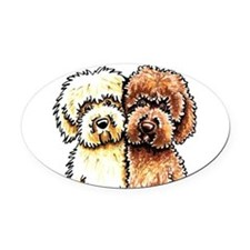 Yellow Chocolate Labradoodle Oval Car Magnet