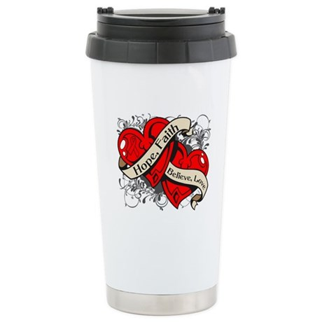 AIDS HIV Hope Dual Heart Ceramic Travel Mug