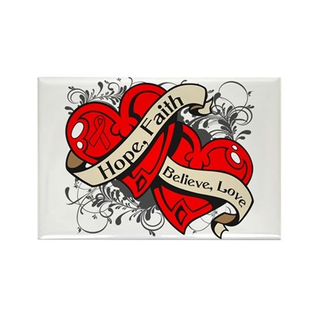 AIDS HIV Hope Dual Heart Rectangle Magnet