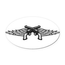 Pistols and Wings Oval Car Magnet