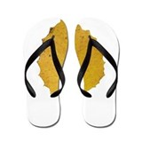 Golden Aspen Leaf Flip Flops