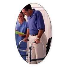 Nurse and man using walker Decal