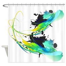 Teal Abstract Paint Splatter Shower Curtain