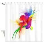 Abstract Lorikeet Paint Splatter Shower Curtain