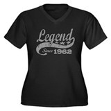 Legend Since 1962 Women's Plus Size V-Neck Dark T-