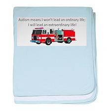 Autism firetruck baby blanket