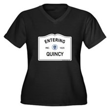 Quincy Women's Plus Size V-Neck Dark T-Shirt