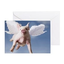 Pig with wings flying with blue sky Greeting Card