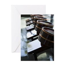 Wooden Bath Stools and Tubs in Line, Greeting Card
