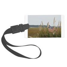 Beach- American Flag in Sea Oats Luggage Tag