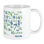 Collage of Digits Mug - Pi's digits artfully wrapped around your warm beverage.
