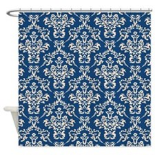 Monaco Blue & Linen Damask #4 Shower Curtain