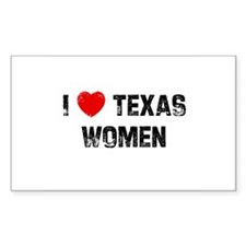 I * Texas Women Rectangle Decal