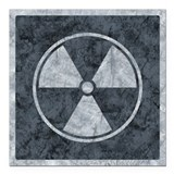 Distressed Gray Radiation Symbol Square Car Magnet