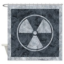 Distressed Gray Radiation Symbol Shower Curtain