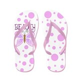 Cute Purple Butterfly and Polka Dots Flip Flops