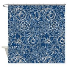 Monaco Blue & Linen Damask #5 Shower Curtain