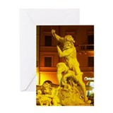 Italy, Rome, Piazza Navona, Fountain Greeting Card