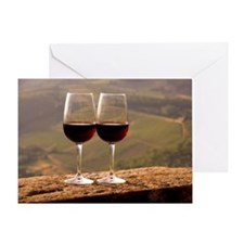 Two wine glasses filled with Chianti Greeting Card