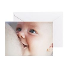 Baby boy (3-6 months) feeding from b Greeting Card