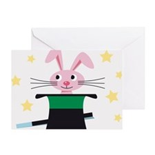 Rabbit appearing from a hat, magic w Greeting Card
