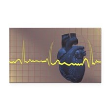 Electrocardiogram over a huma Rectangle Car Magnet