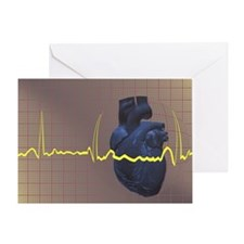 Electrocardiogram over a human heart Greeting Card