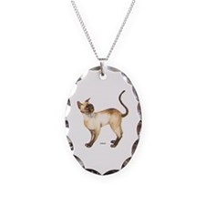 Siamese Cat Necklace Oval Charm