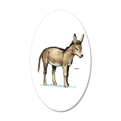Donkey Animal 20x12 Oval Wall Decal