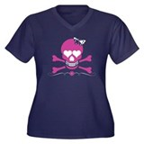 Pink Skull and Hearts for Black Plus Size T-Shirt