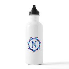 Blue Letter N Monogram Water Bottle