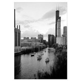 Sailboats in a river, Chicago River, Chicago, Cook
