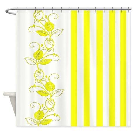 Yellow Flowers and Stripes Shower Curtain by cheriverymery