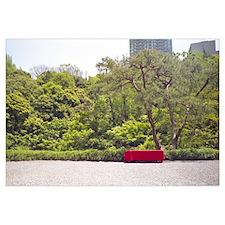 Bench in a garden, Happo-En Gardens, Tokyo Prefect
