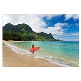 Hawaii, Kauai, Haena Beach, Woman Entering Ocean W
