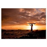 Hawaii, Maui, Makena, Silhouette Of Surfer Girl At