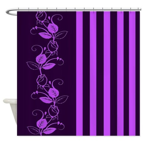 purple flowers and stripes shower curtain by cheriverymery