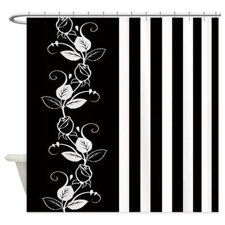 ... Bathroom Décor > Black and White Flowers/Stripes Shower Curtain