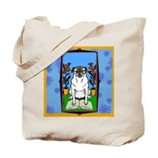 Colorful Pug Reading a Book Tote Bag