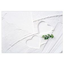 Hearts Engraved On White Plaster wall