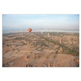 Hot air balloon flying over stupas, Ayeyarwady Riv