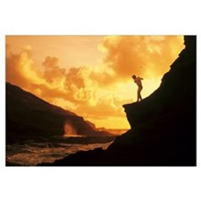 Hawaii, Golfer Standing On A Cliff And Swinging A