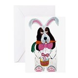 Basset Hound Easter Bunny Greeting Cards (Pk of 20