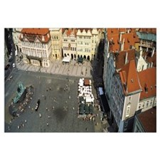 High angle view of buildings in a city, Prague Old